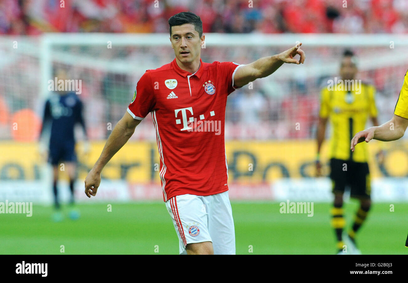 German Cup Final at Olympic Stadium Berlin, FC Bayern Munich vs Borussia Dortmund: Robert Lewandowski of Munich. - Stock Image