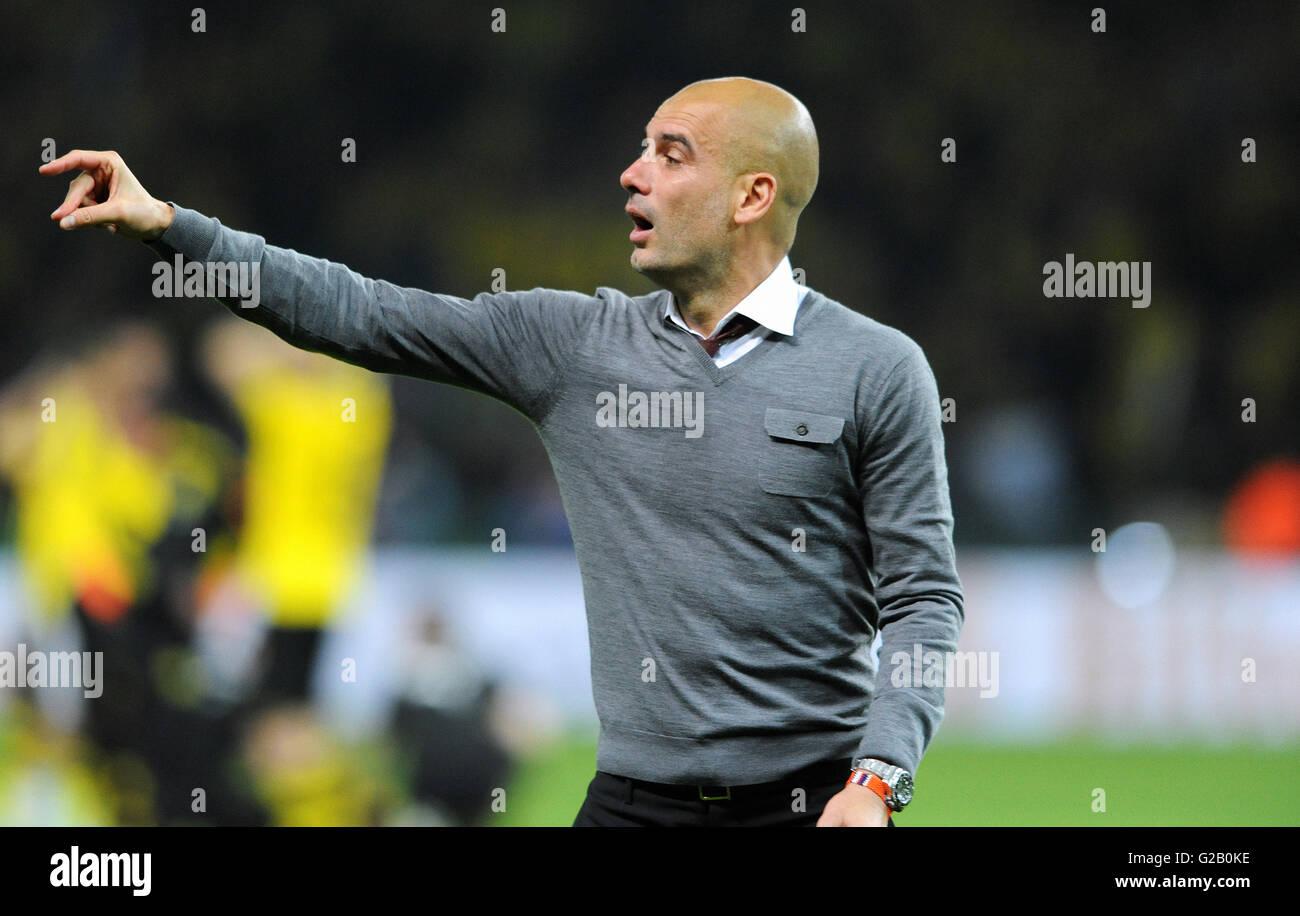 German Cup Final, spanish Coach Josep Pep Guardiola from winner Bayern Munich. - Stock Image