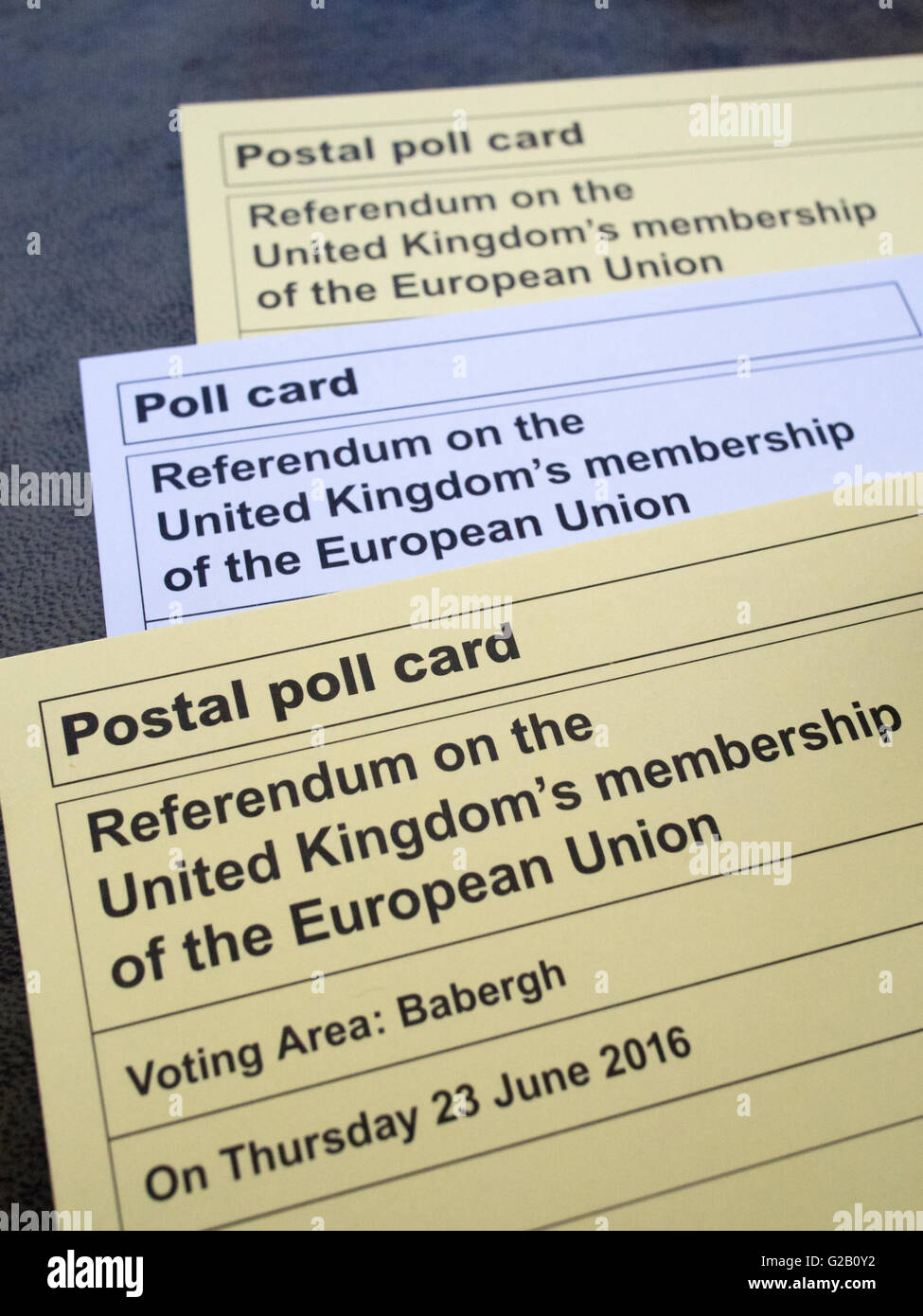 Polling cards for the UK's EU referendum, 2016. - Stock Image