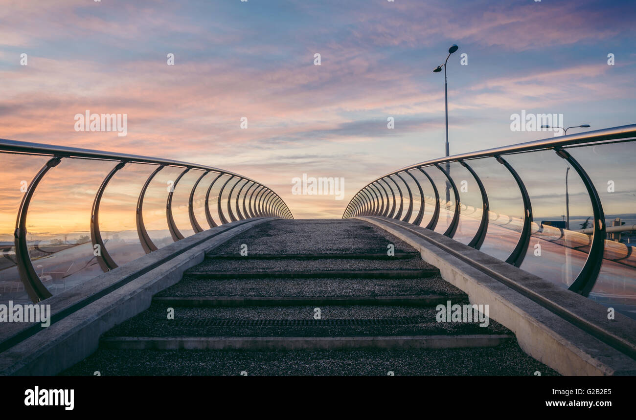 Beautiful modern bridge in the Netherlands at sunset - Stock Image