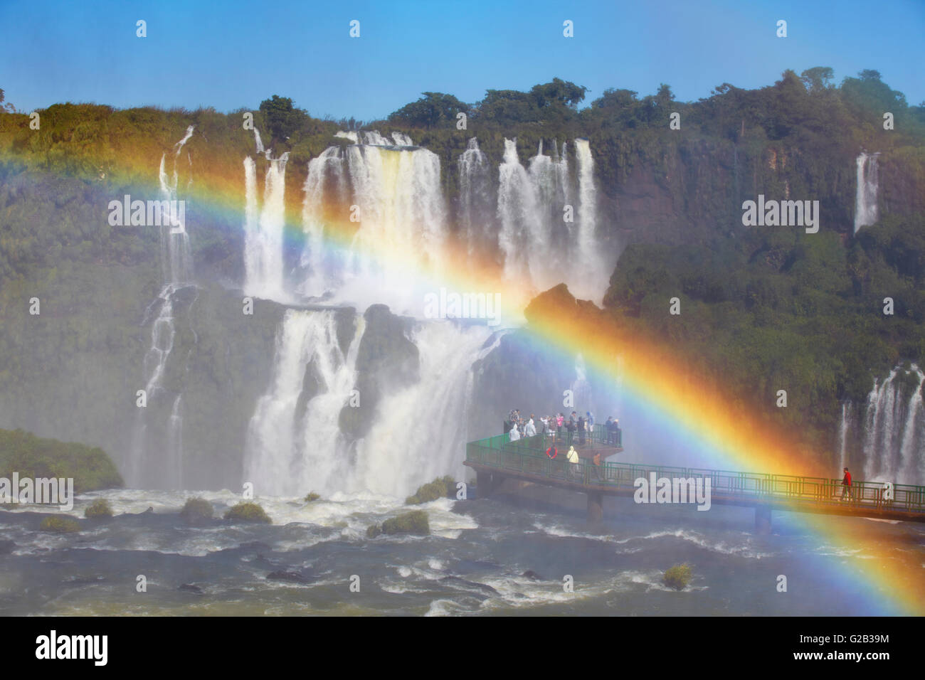 Tourists on walkway at Iguacu Falls, Iguacu National Park, Iguacu, Parana, Brazil - Stock Image