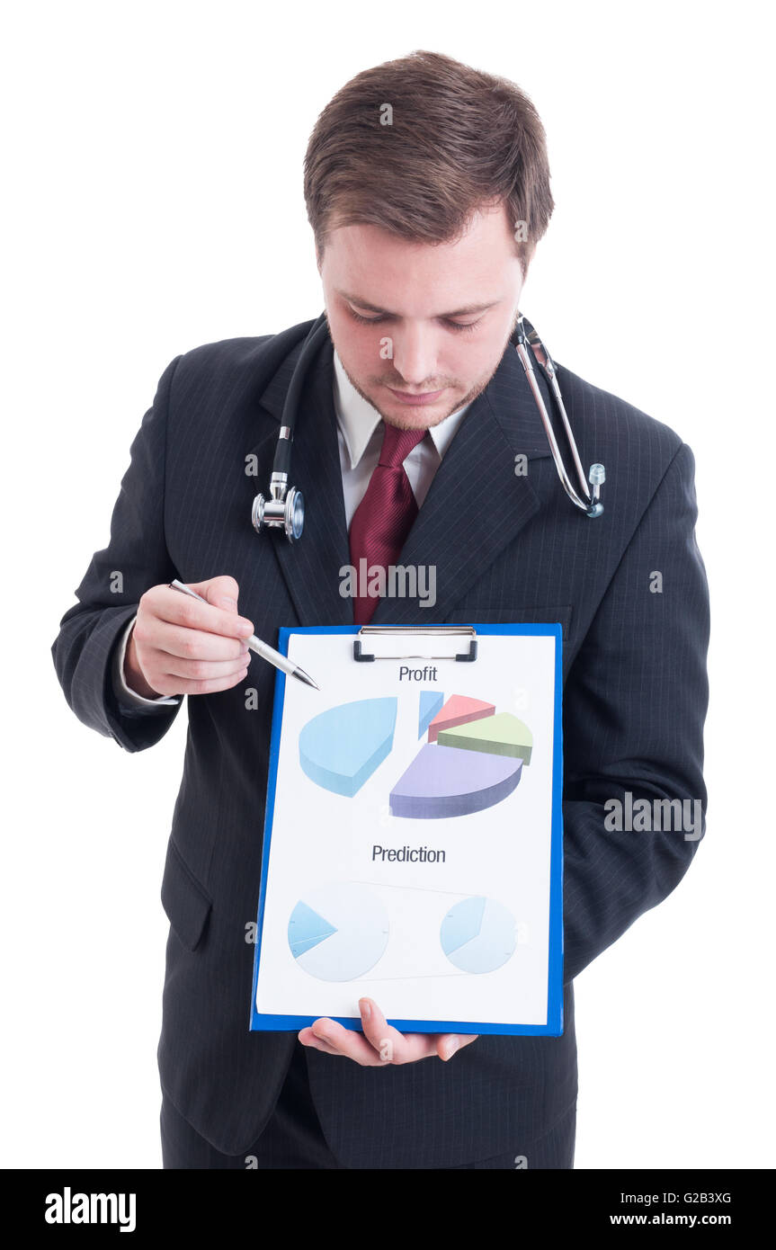 Hospital manager showing profit and prediction chart on clipboard - Stock Image