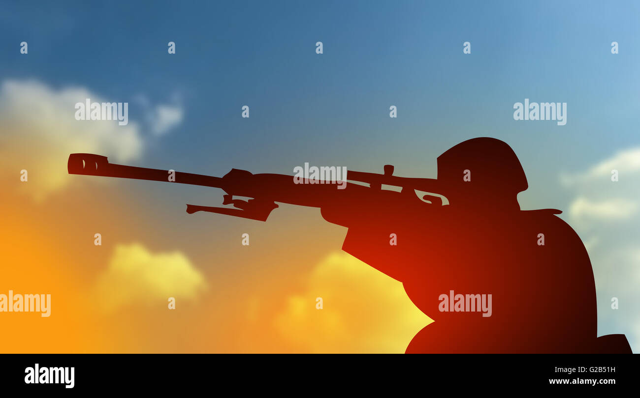 Fight against terrorism concept with army soldier silhouette - Stock Image