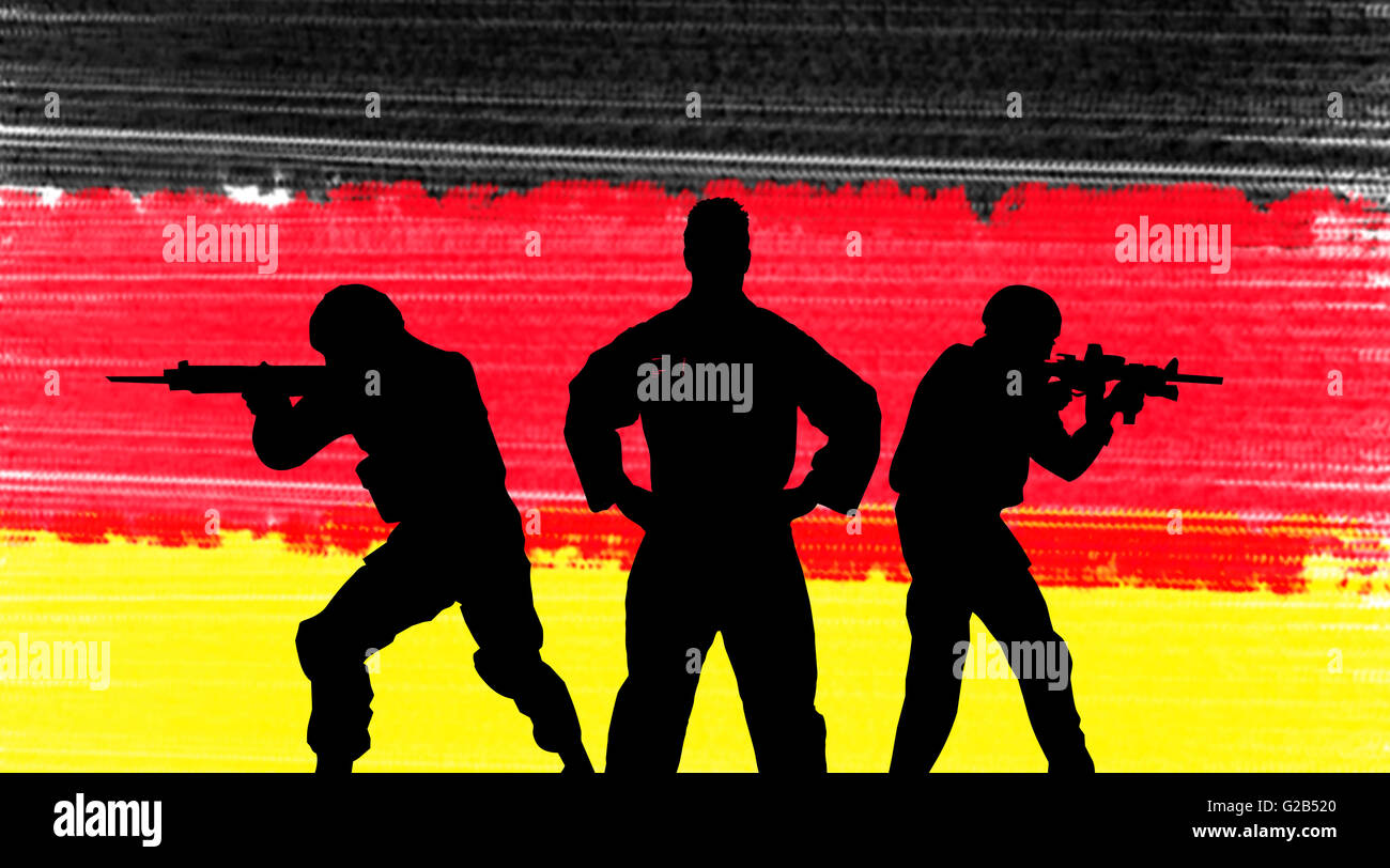 German army concept silhouette on background flag - Stock Image
