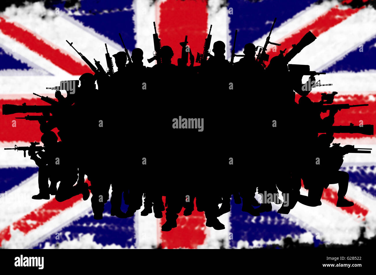 Great Britain or british army concept silhouettes on flag background - Stock Image