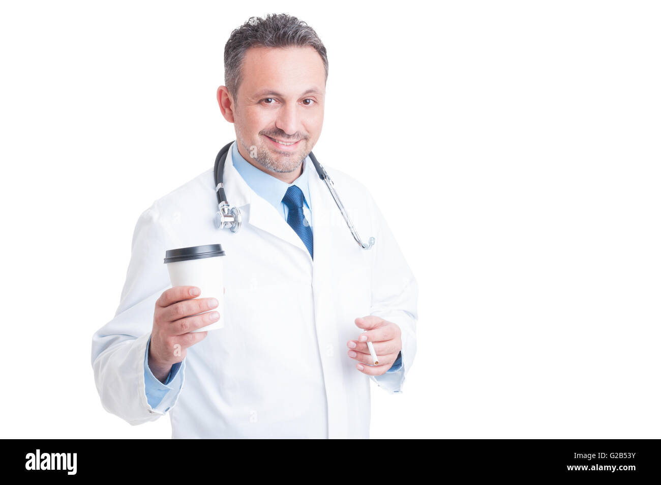 Hospital doctor having coffee and cigarette pause isolated on white background - Stock Image