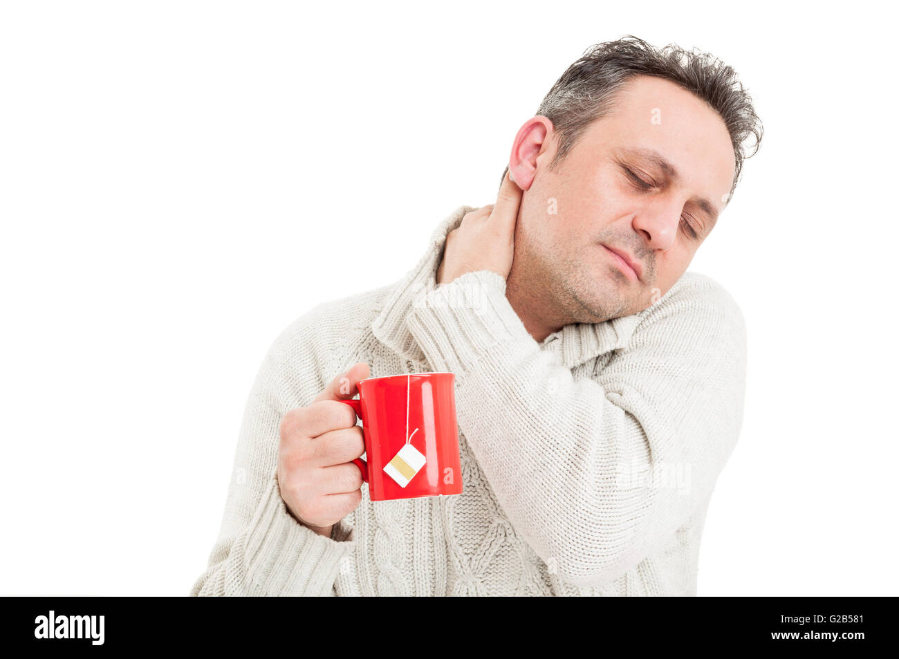 Sick man grabbing the back of the neck suffering of flu virus - Stock Image