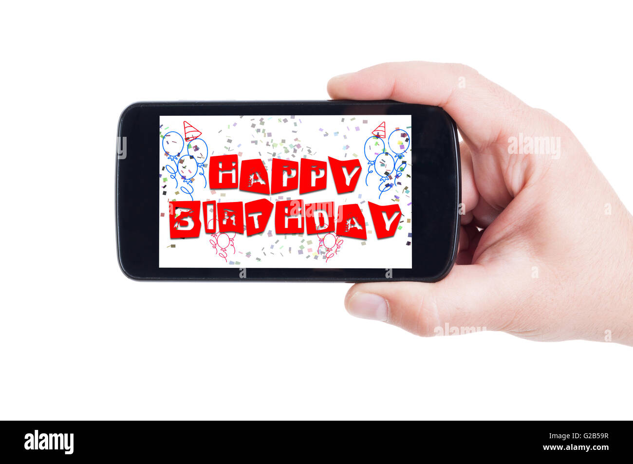 Happy birthday concept on smartphone display or phone screen - Stock Image