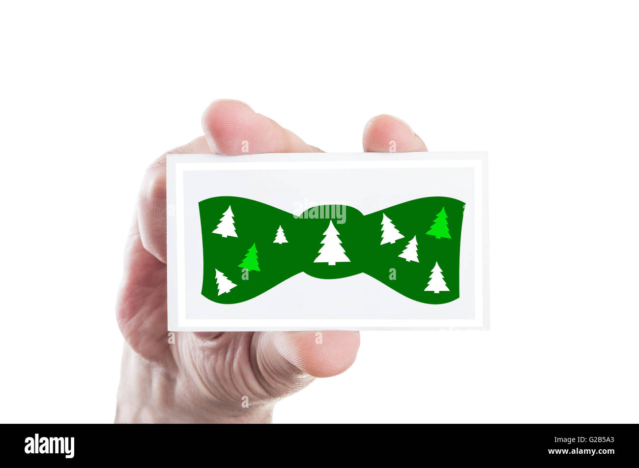 Christmas bowtie concept illustration on a card - Stock Image