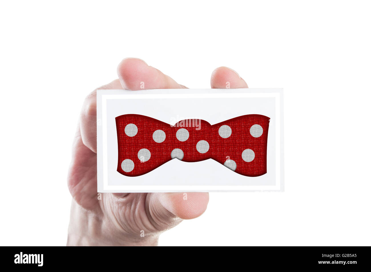 Red bowtie with white bubbles illustration concept on a paper card - Stock Image