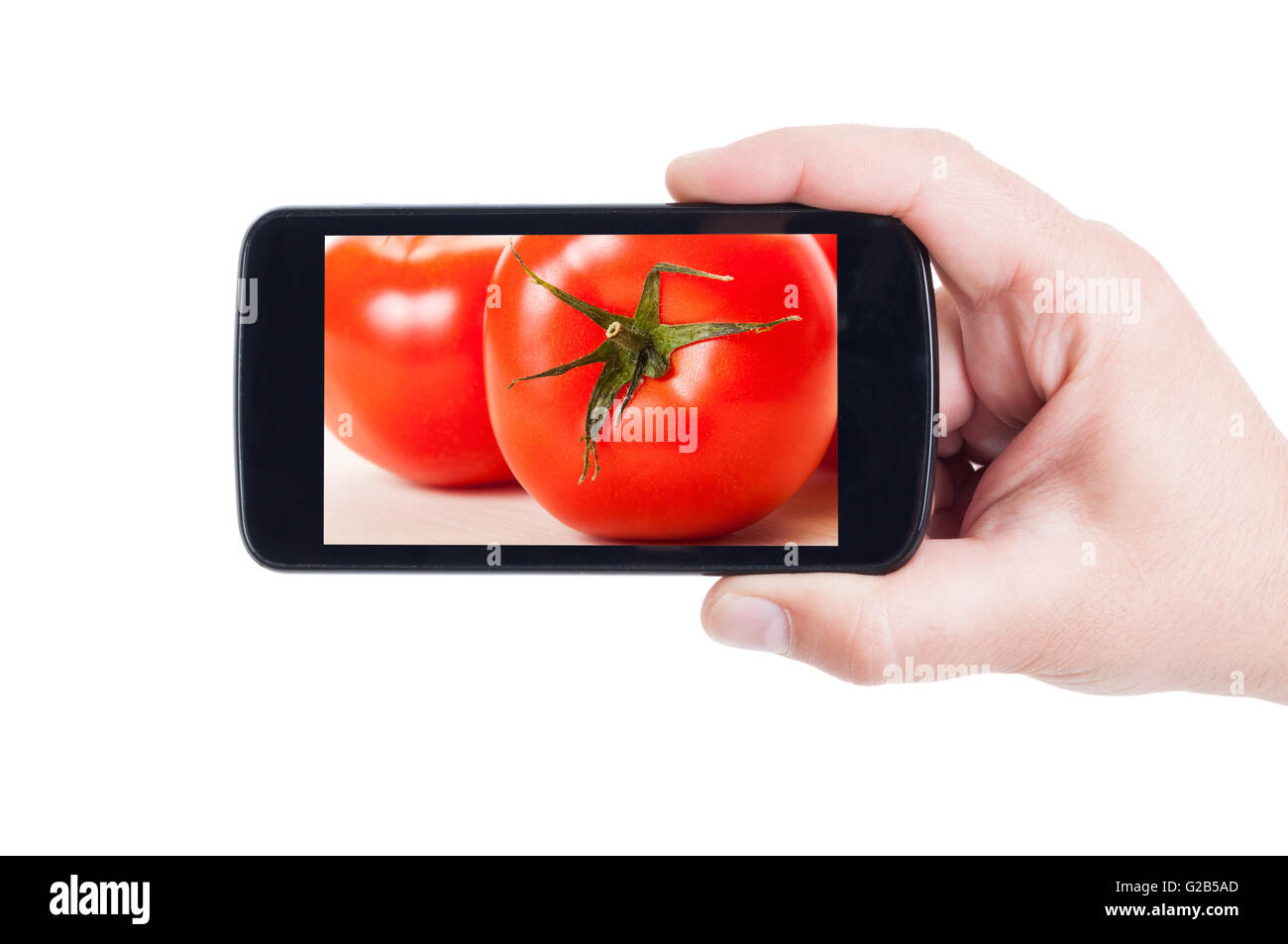 Fresh tomatoes on smartphone display or cellphone screen - Stock Image