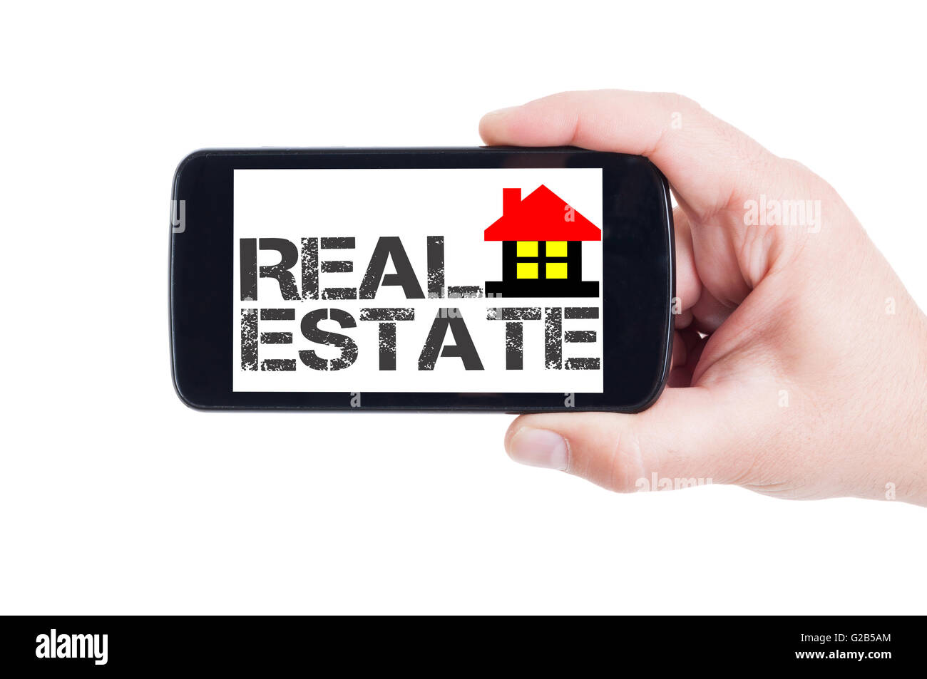 Real estate agency app on mobile phone screen or smartphone display Stock Photo