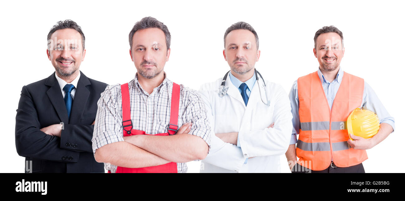 Many jobs people concept with same person as, constructor, mechanic, plumber, businessman, and doctor or medic - Stock Image
