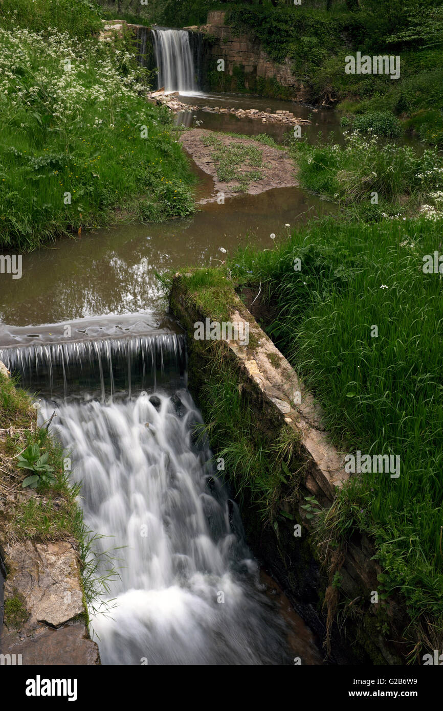 Weirs on the River Rea, Shropshire, England, UK - Stock Image