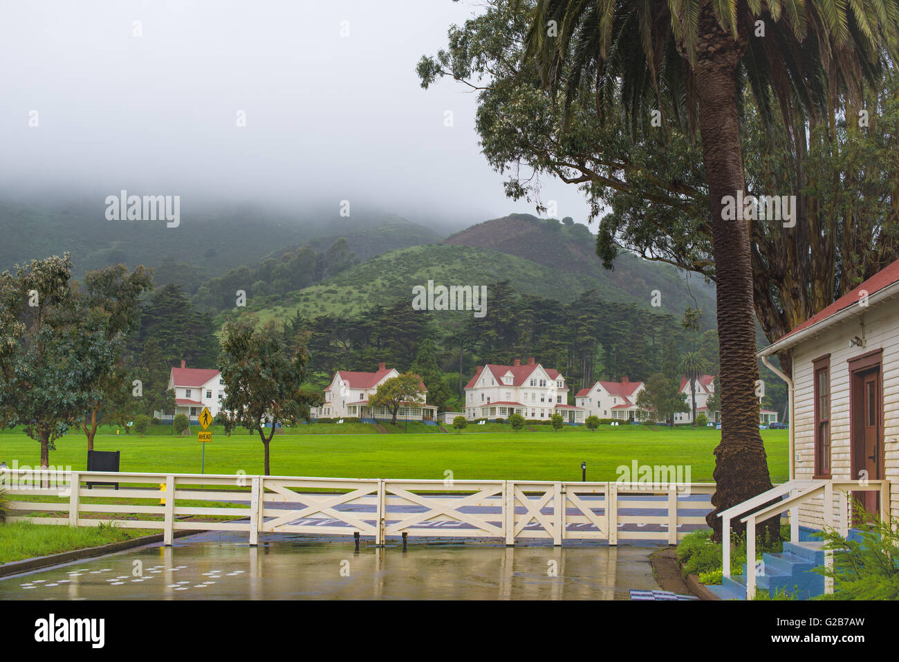 Houses and trees around Godlden Gate Park, San Francisco - Stock Image