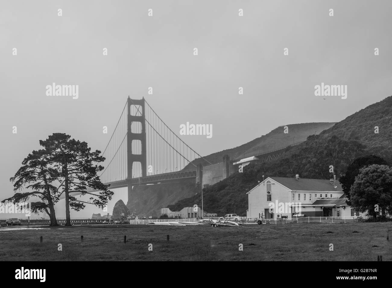 Golden Gate Bridge view of Bay Area Discovery Museum Stock Photo