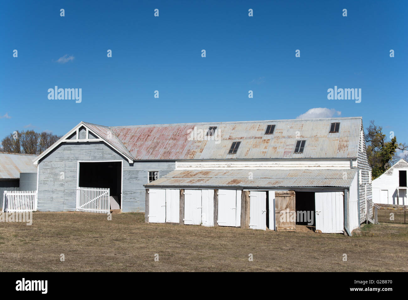 Stables and Coach House c1910 at Saumarez, a National Trust property, Armidale NSW Australia. - Stock Image