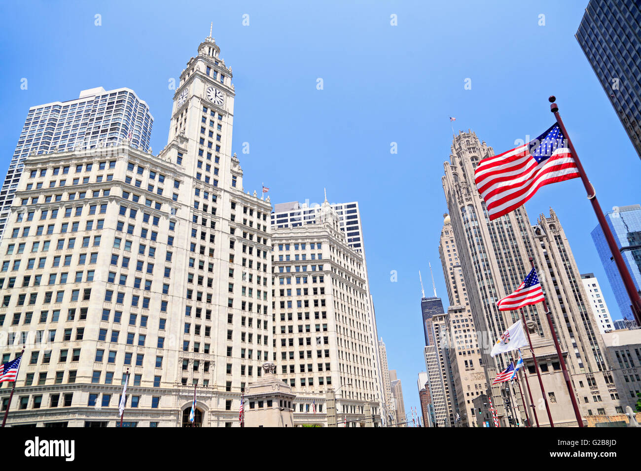 Wrigley Building and Tribune Tower in Chicago, Illinois, USA - Stock Image
