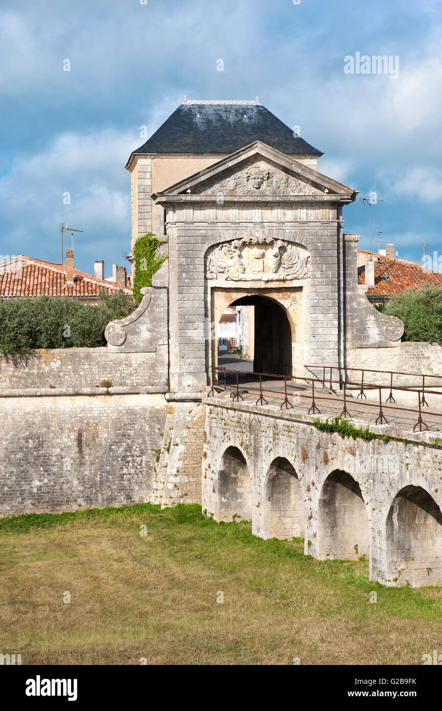 Saint Martin fortification, Designed and constructed by Vauban, Door of the Campani, Ile de Re, Charentes Maritime, - Stock Image