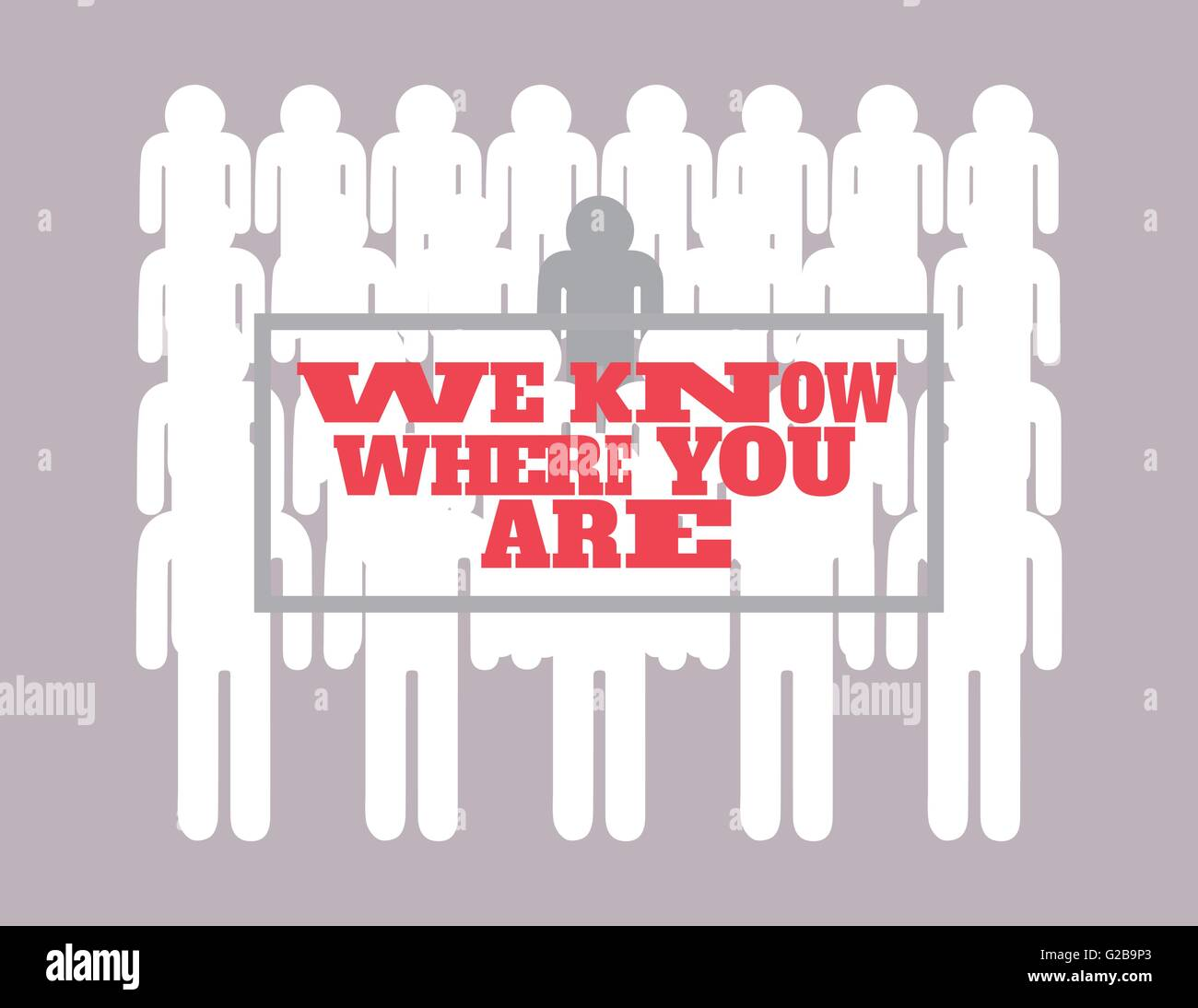 illustration spying vector we know where you are Stock Vector