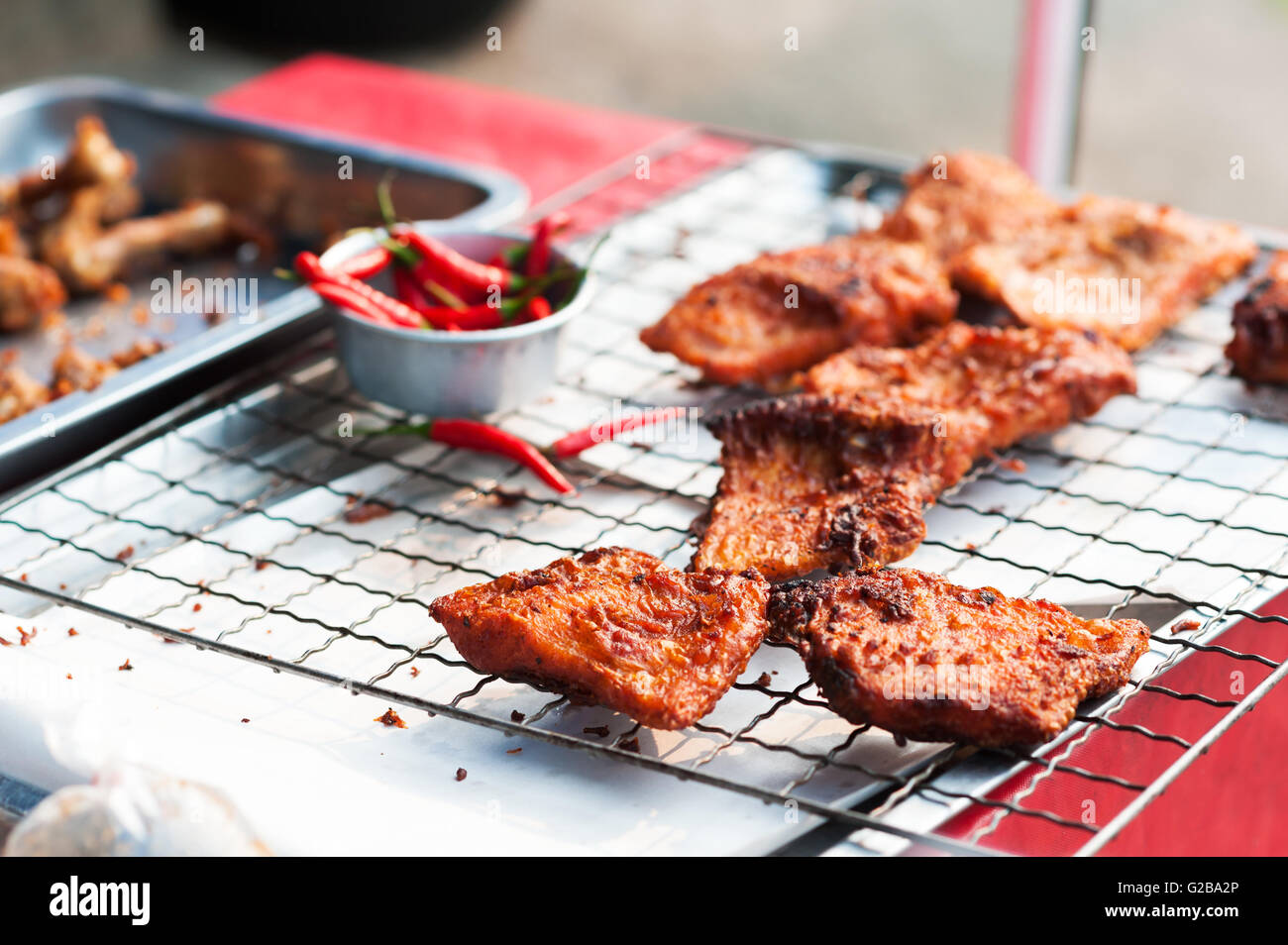 An fried Fish in market place . - Stock Image