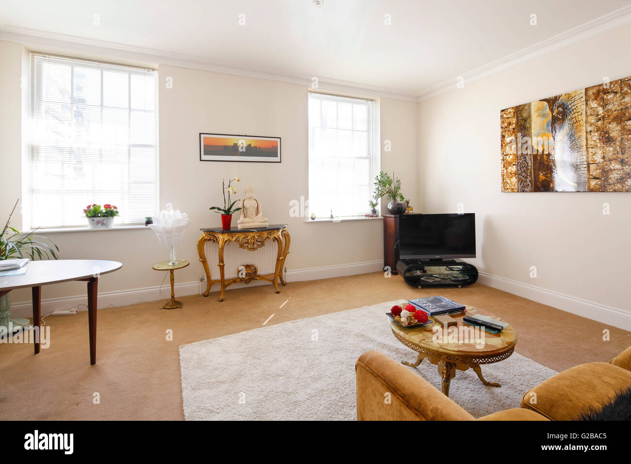 Cavendish Place, Brighton. Spacious traditional living room. - Stock Image