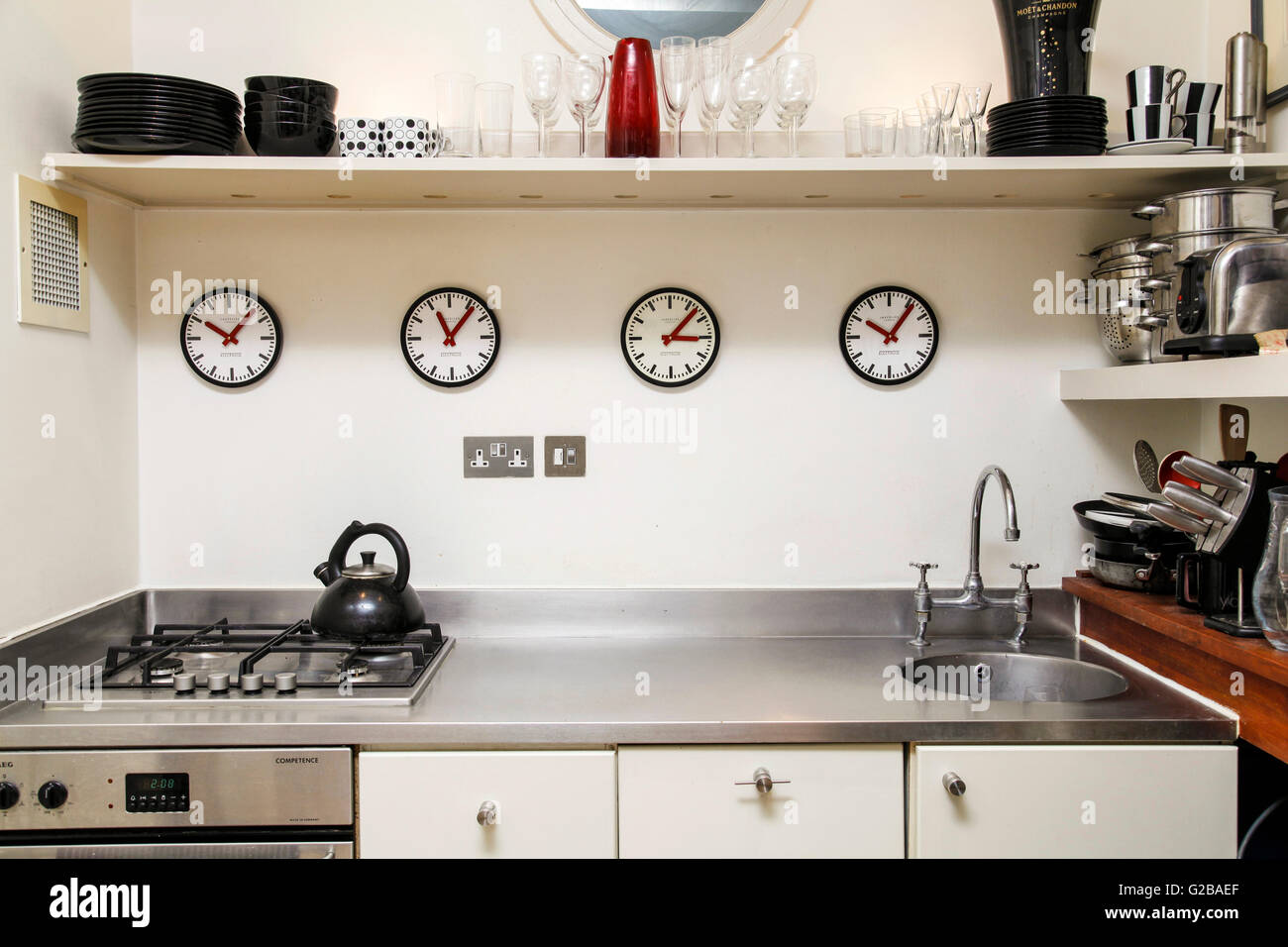 Foley House, Maddox Street. Small modern kitchen with ...