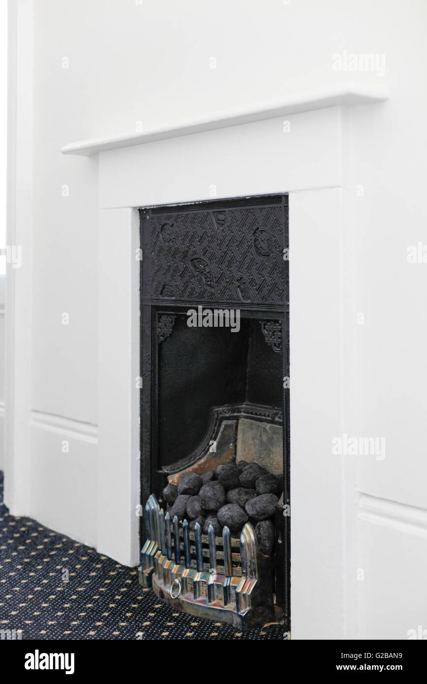 Vicarage Gate Close View Of A Coal Burning Fireplace Stock Photo