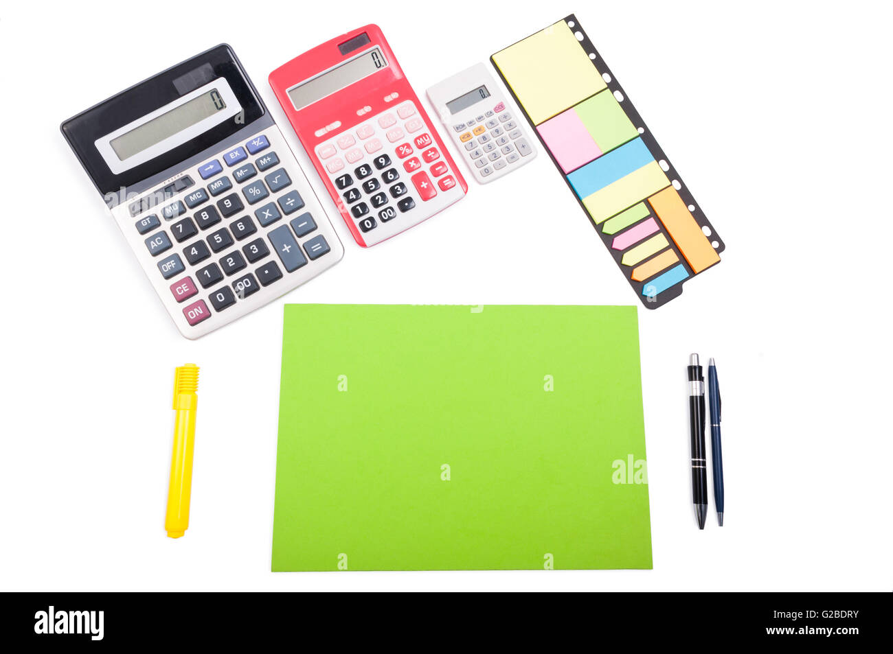 Organized desk or workspace concept. View from above - Stock Image