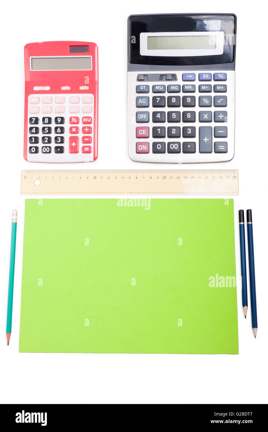 Point of view from above an accountant desk with copy space and advertising area - Stock Image