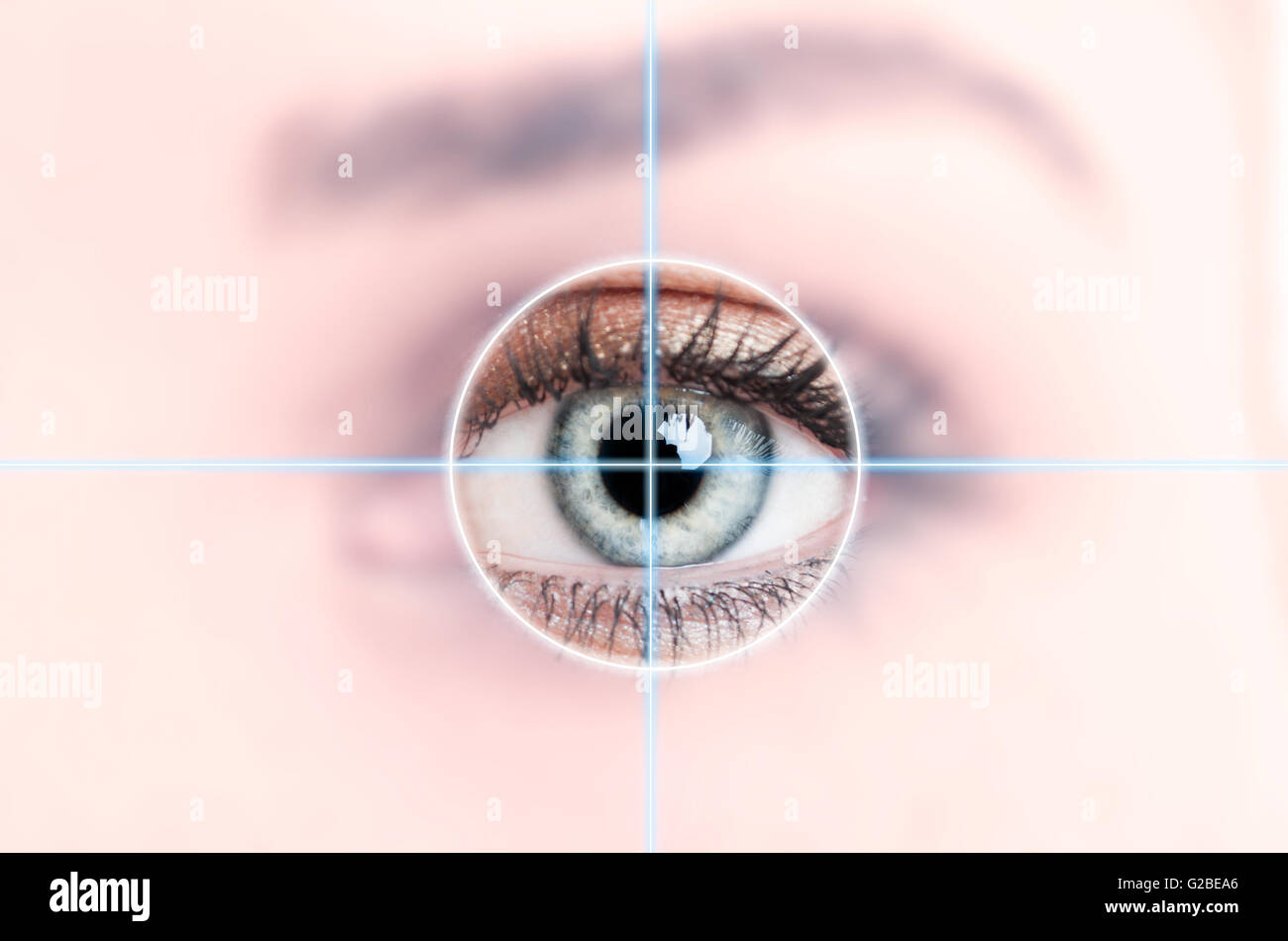 Close up of female blue eye scanned for access as high-tech personal identification concept - Stock Image