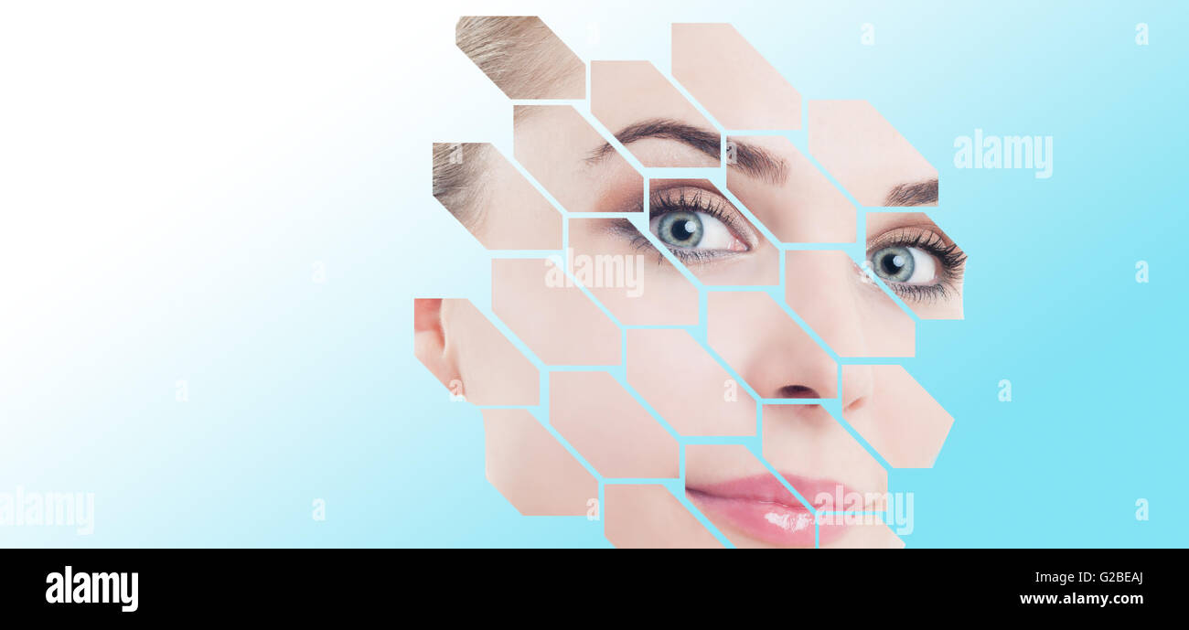 Close-up of woman face with perfect spotless skin and modern design over Stock Photo