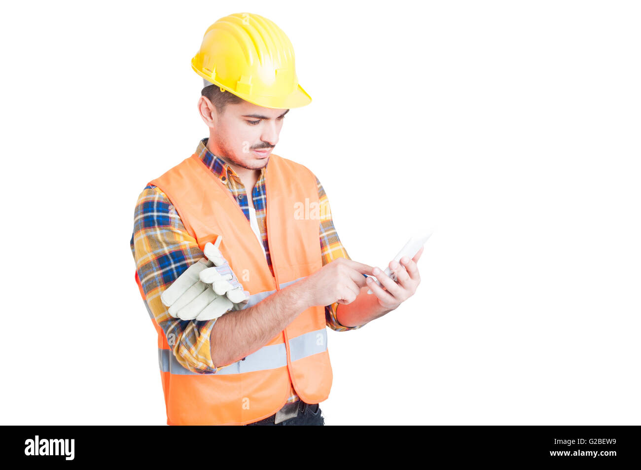 Business modern work concept with young engineer and smartphone isolated on white background - Stock Image