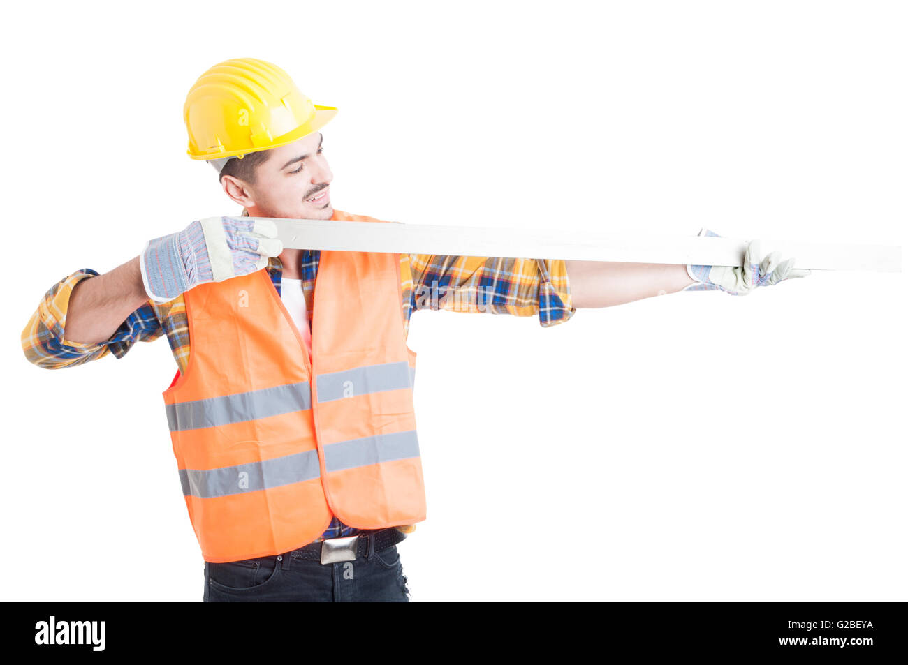 Successful architect holding a meter instrument to measure length as precise measurement concept isolated on white - Stock Image