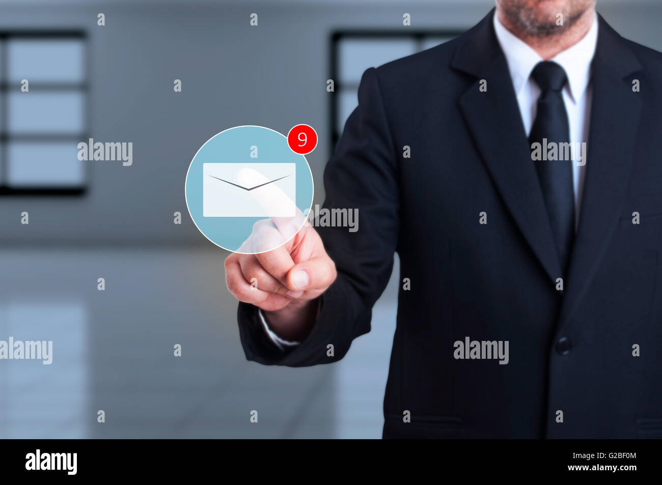 Digital inbox with received new messages concept as futuristic worldwide business comunications - Stock Image