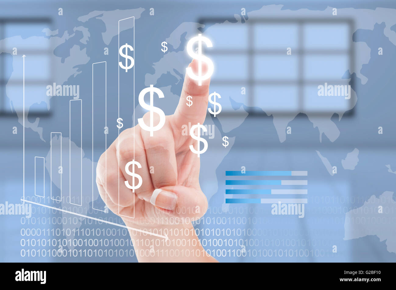 Global economy or dollar curency conversion worldwide concept with finger pressing on futuristic technology transparent - Stock Image