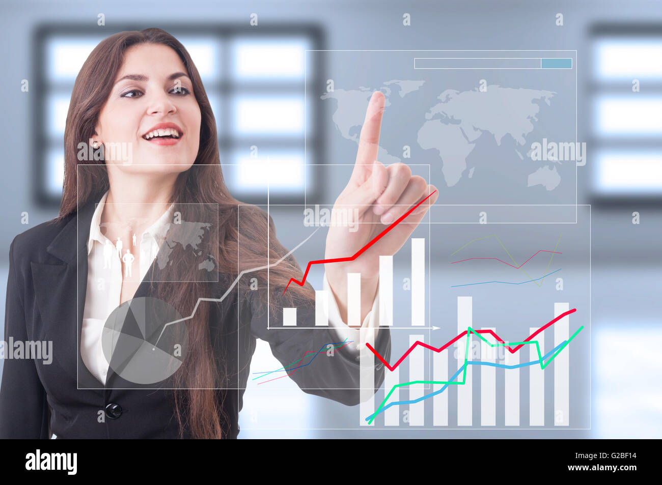 Global economy growth as futuristic technology concept with business woman pressing button on transparent touch - Stock Image