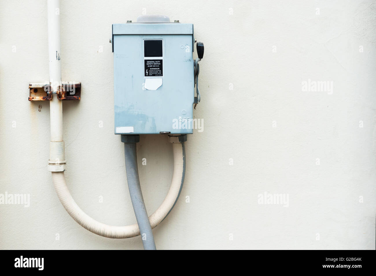 Electric outdoor fuse box in soft light . - Stock Image