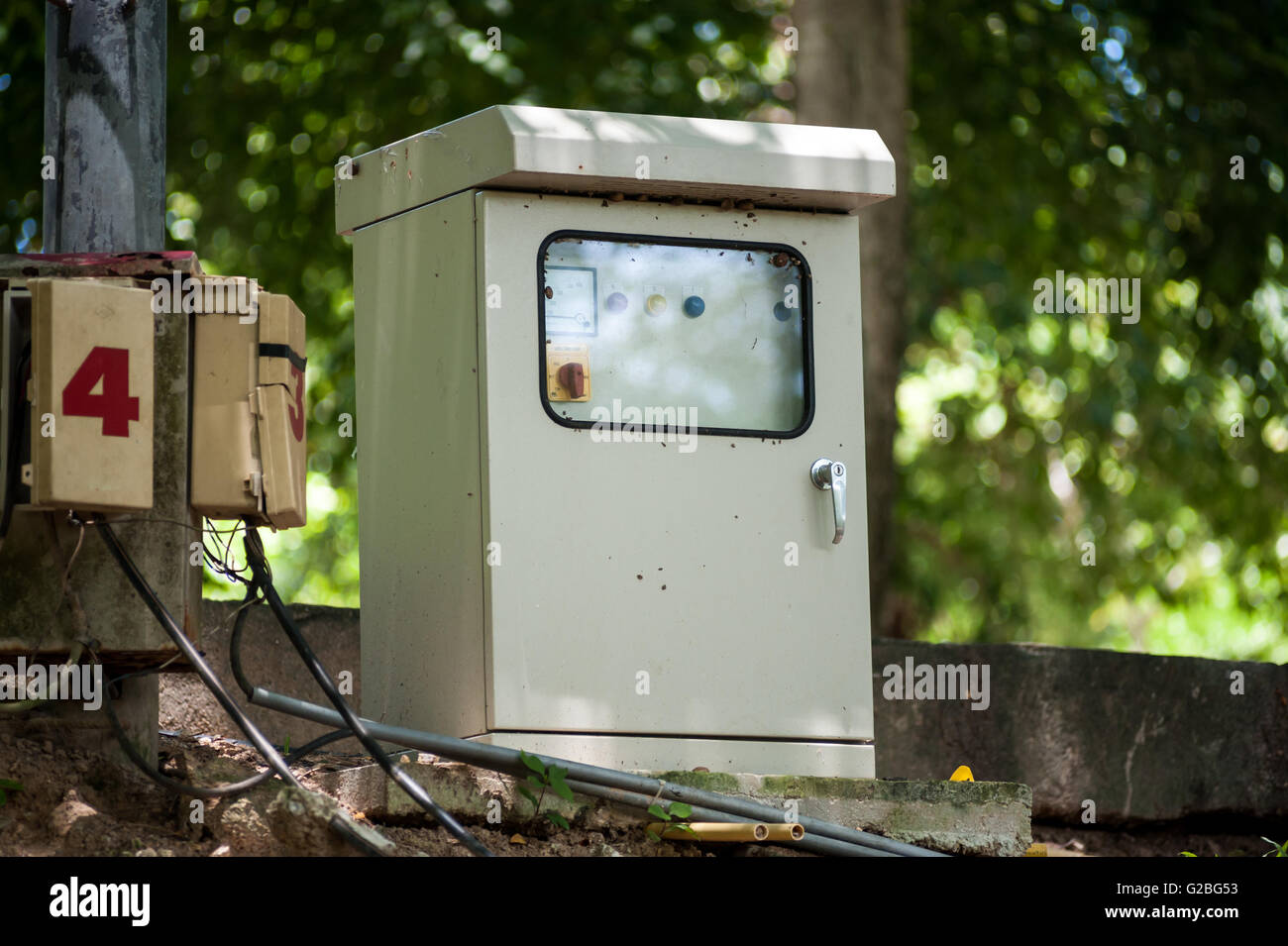 Electric outdoor fuse box in soft light . Stock Photo