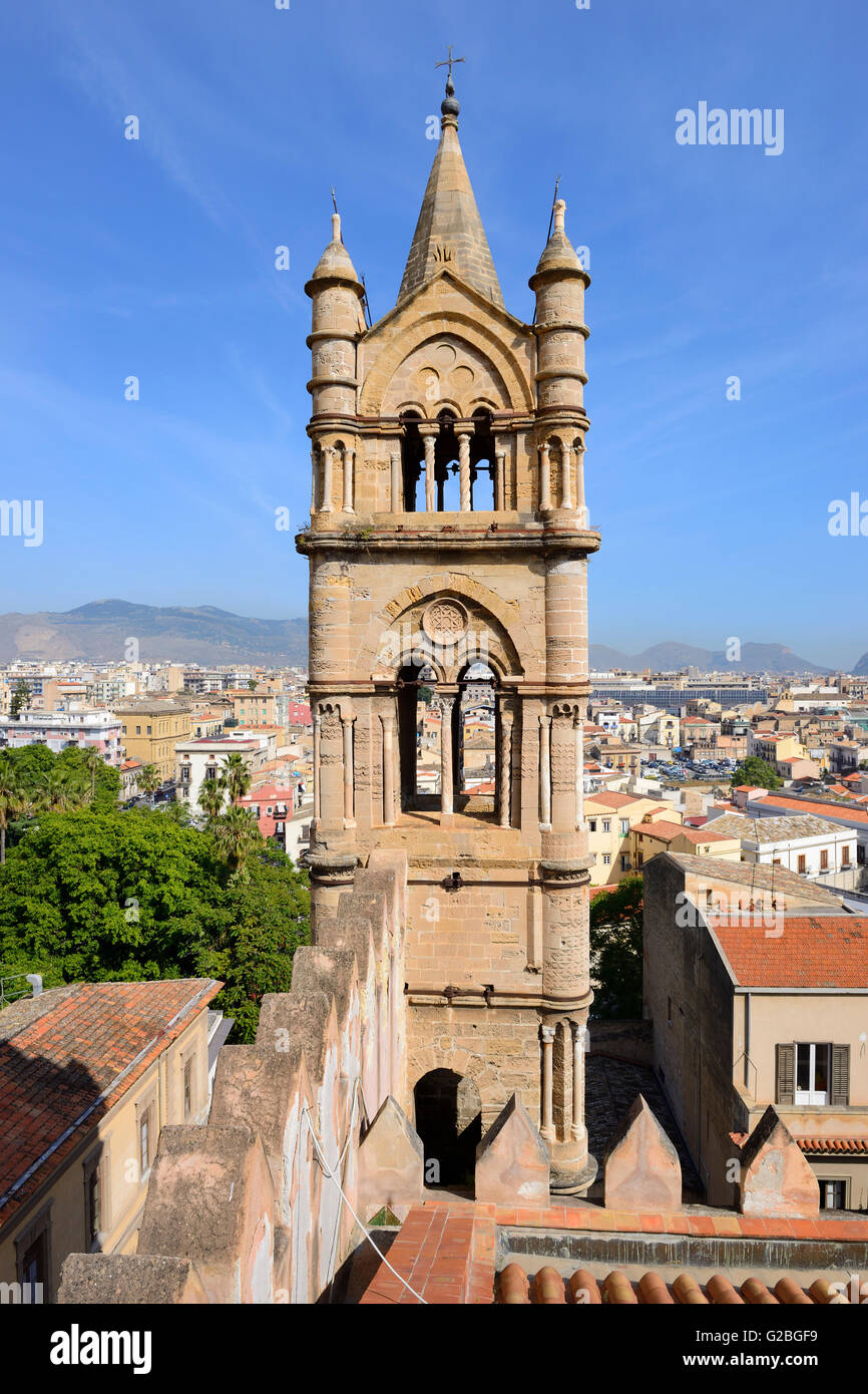 View from rooftop of Palermo Cathedral (Our Lady of the Assumption) in Piazza Sett'angeli, Palermo, Sicily, - Stock Image