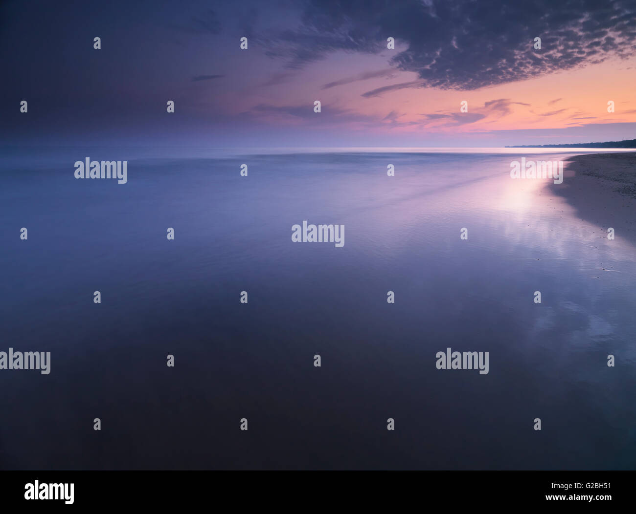 Long Point Beach at sunset, Lake Erie, Ontario, Canada - Stock Image