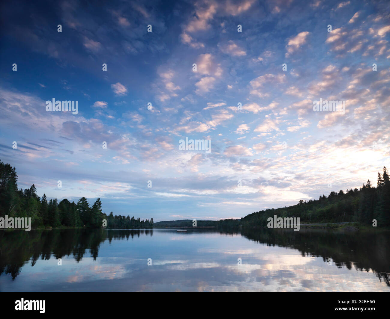 Lake of Two Rivers, evening mood, Algonquin Provincial Park, Ontario, Canada - Stock Image