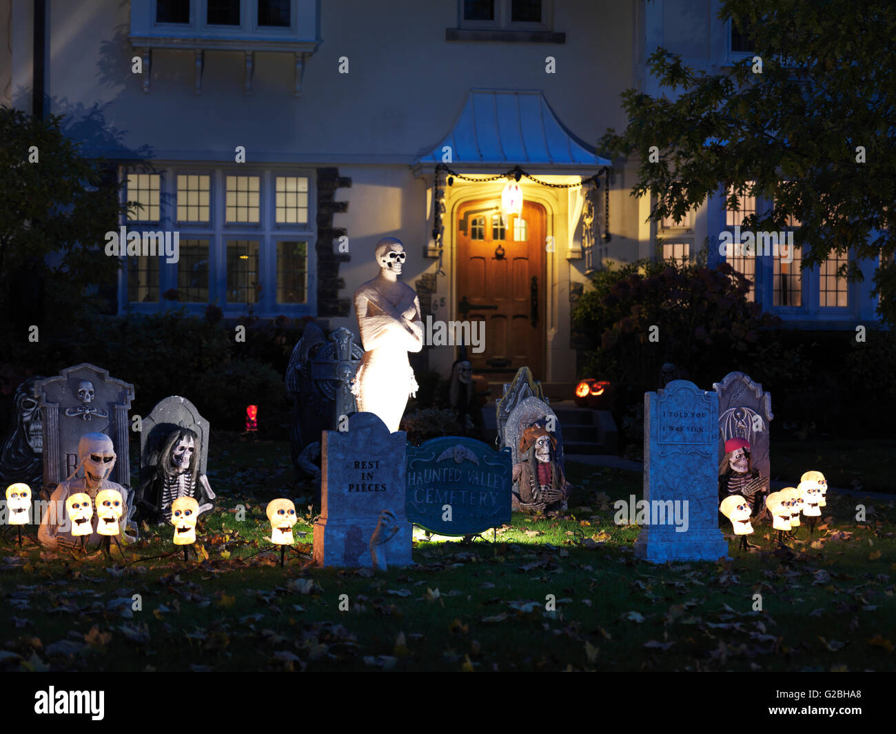 Spooky Halloween decoration in the front yard of a house, Toronto, Canada - Stock Image