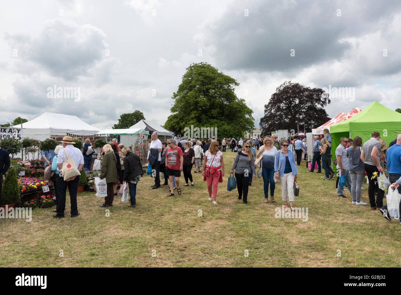 People at a country show UK in overcast weather - Stock Image