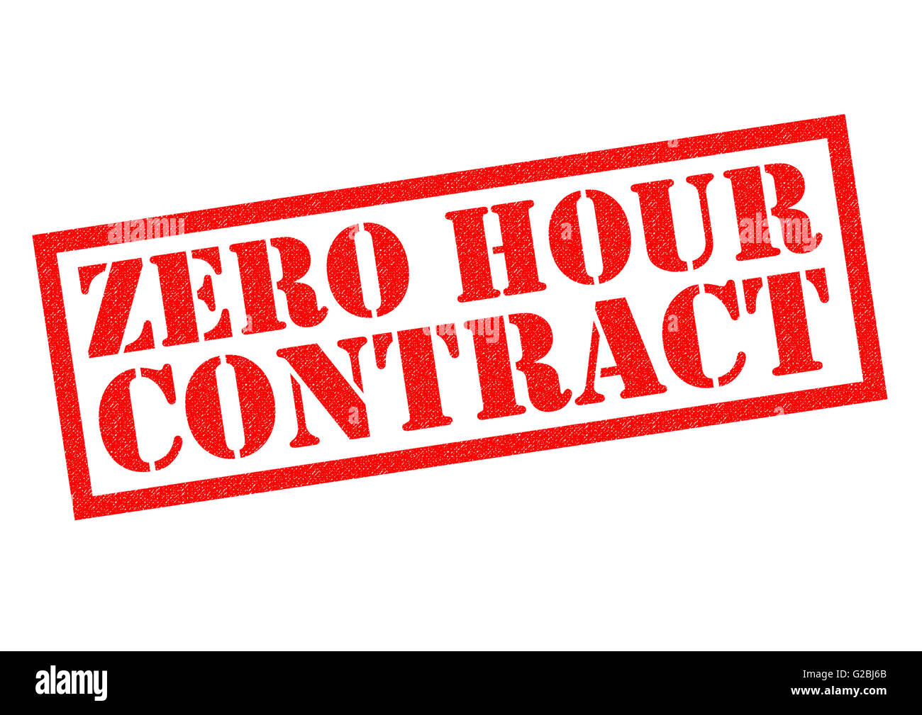 ZERO HOUR CONTRACT red Rubber Stamp over a white background. - Stock Image