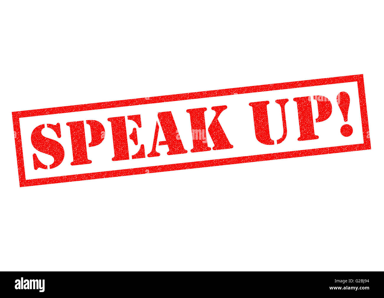 SPEAK UP! red rubber Stamp over a white background. - Stock Image