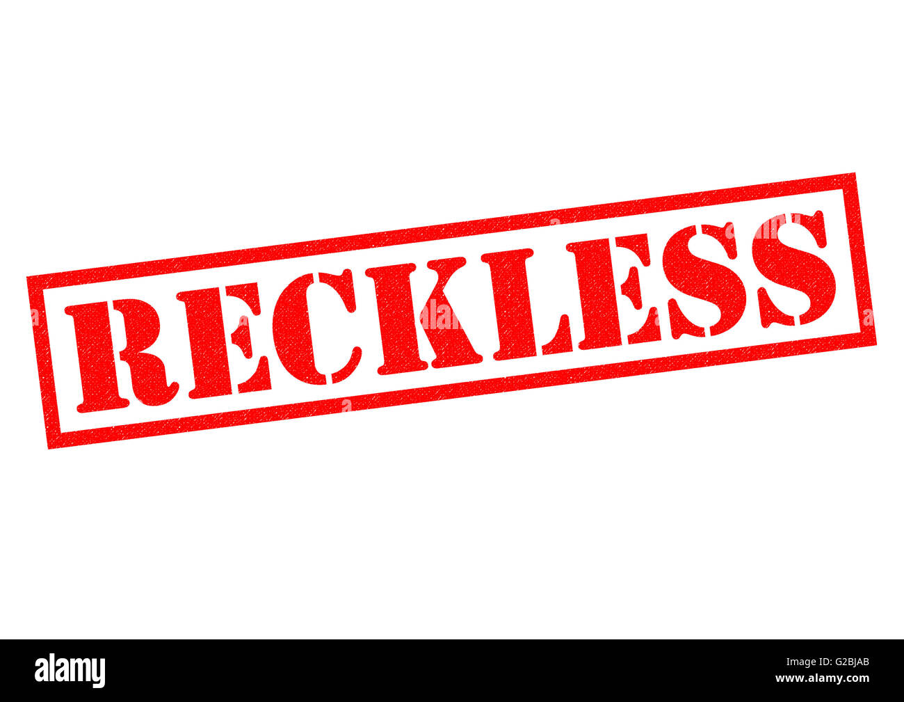 RECKLESS red Rubber Stamp over a white background. - Stock Image