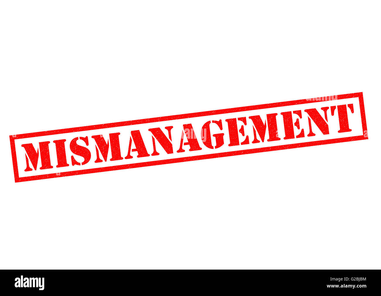 MISMANAGEMENT red Rubber Stamp over a white background. - Stock Image