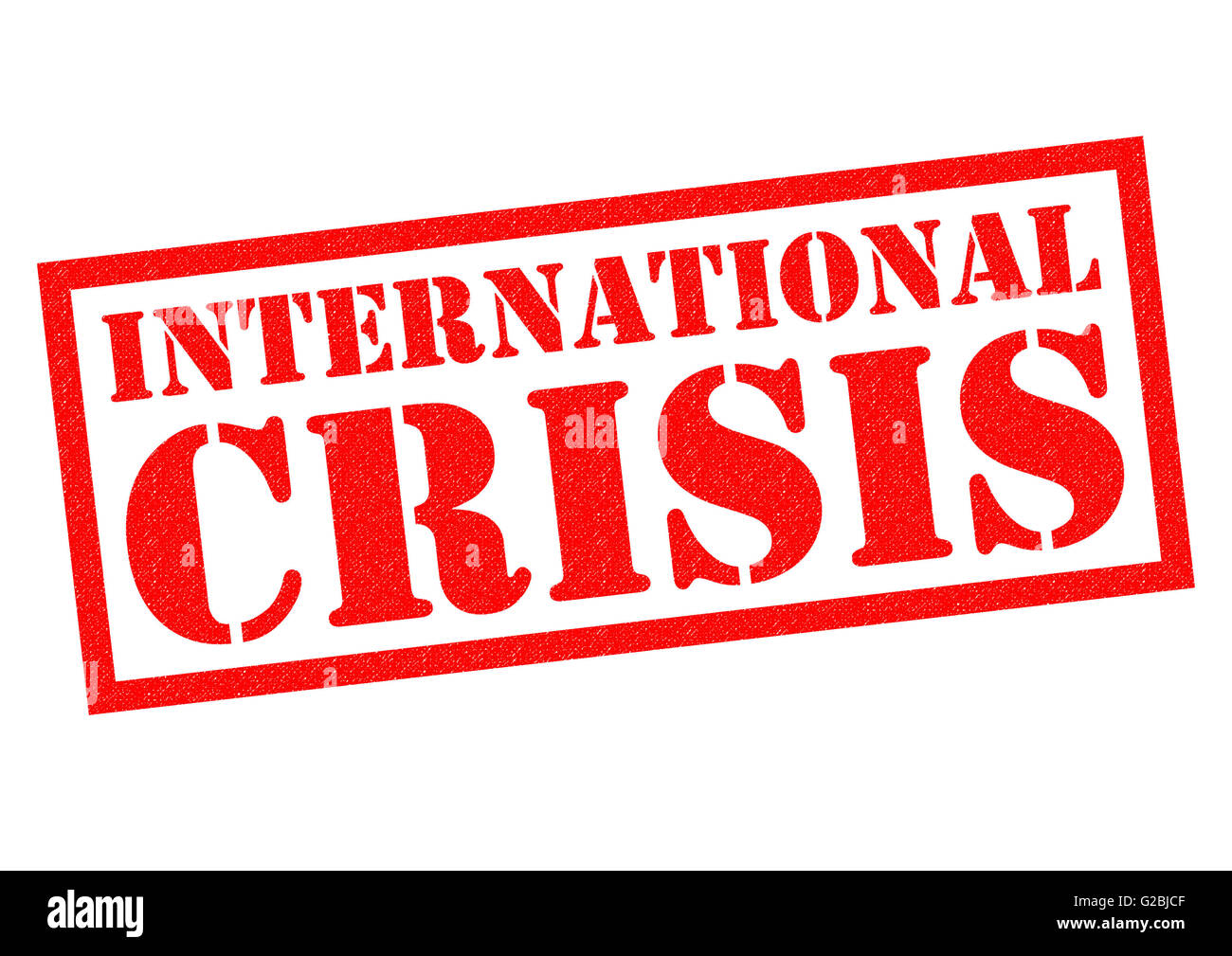 INTERNATIONAL CRISIS red Rubber Stamp over a white background. - Stock Image