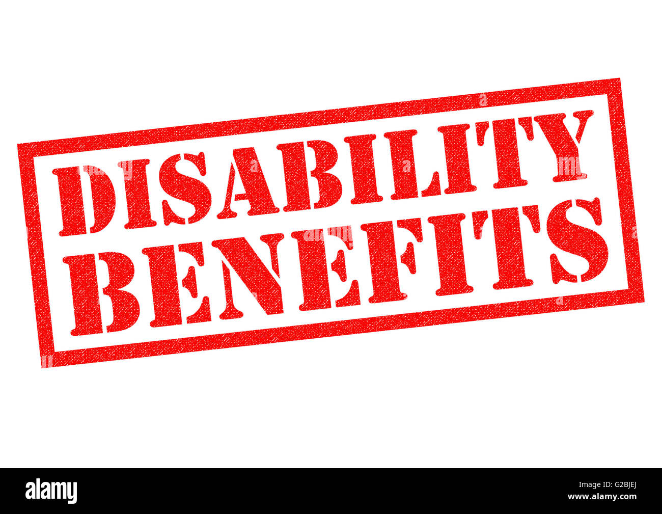 DISABILITY BENEFITS red Rubber Stamp over a white background. - Stock Image